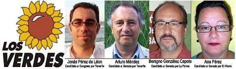 LOS VERDES HA PRESENTADO CANDIDATURAS AL CONGRESO Y SENADO EN LA PROVINCIA DE TENERIFE.
